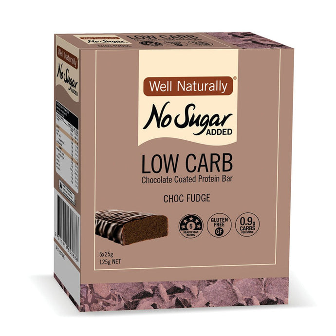 Well Naturally, No Added Sugar Protein Mini Bar Choc Fudge, 25g x 5 Pack
