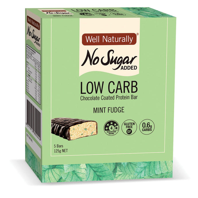 Well Naturally, No Added Sugar Protein Mini Bar Mint Fudge, 25g x 5 Pack