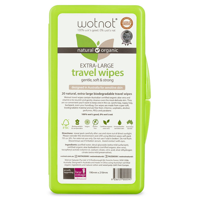 Wotnot, Extra-Large Travel Wipes x 20 Pack Hard Case