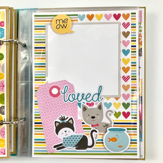 Preassembled Cat Kitten Scrapbook Mini Album