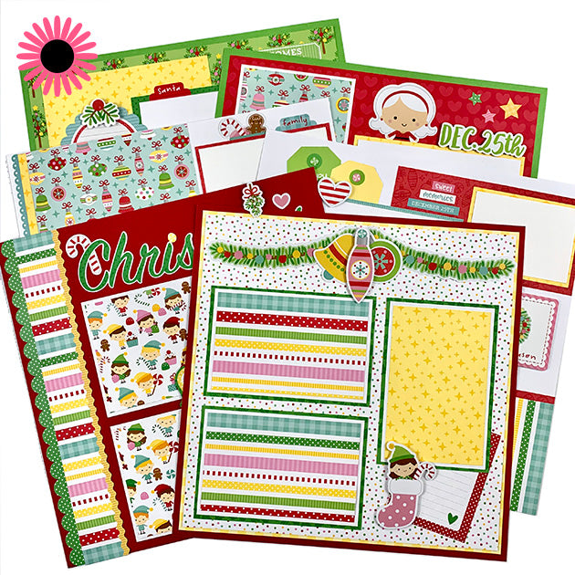 Home for the Holidays Christmas 6-Page Scrapbook Layout Kit