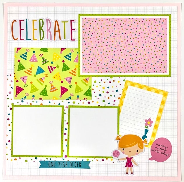 Preassembled Birthday (pink) 6-page Scrapbook Layouts 12x12