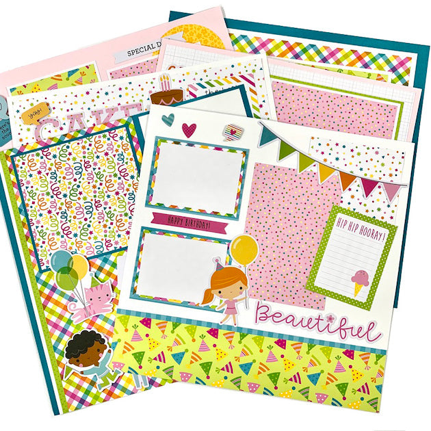 Birthday (pink) 6-page Scrapbook Layout Kit