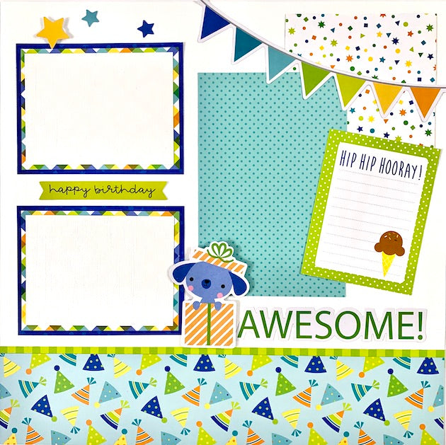 Preassembled Birthday (blue) 6-page Scrapbook Layout 12x12