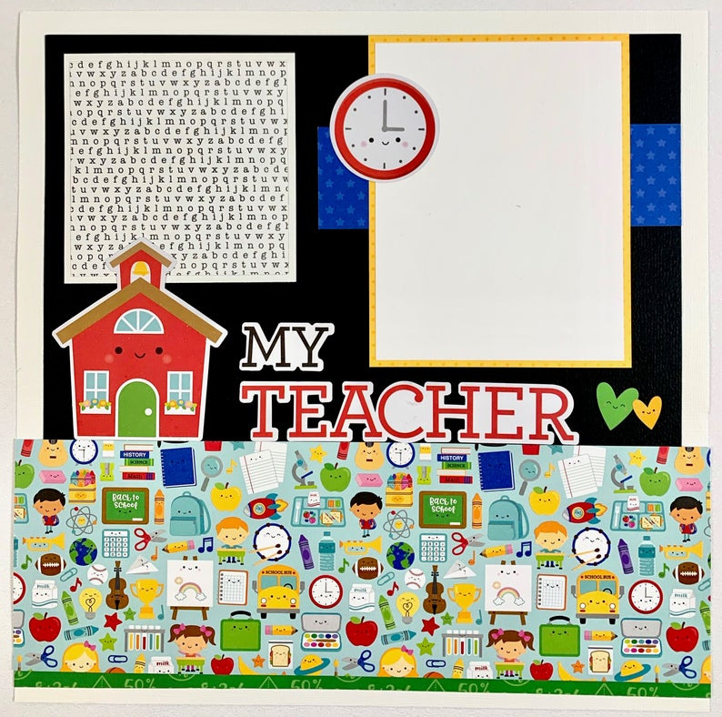 12x12 School Days Layout Instructions, Digital Download