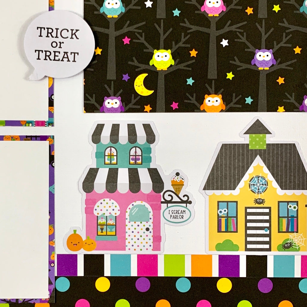Halloween 4 Page Scrapbook Layout Kit