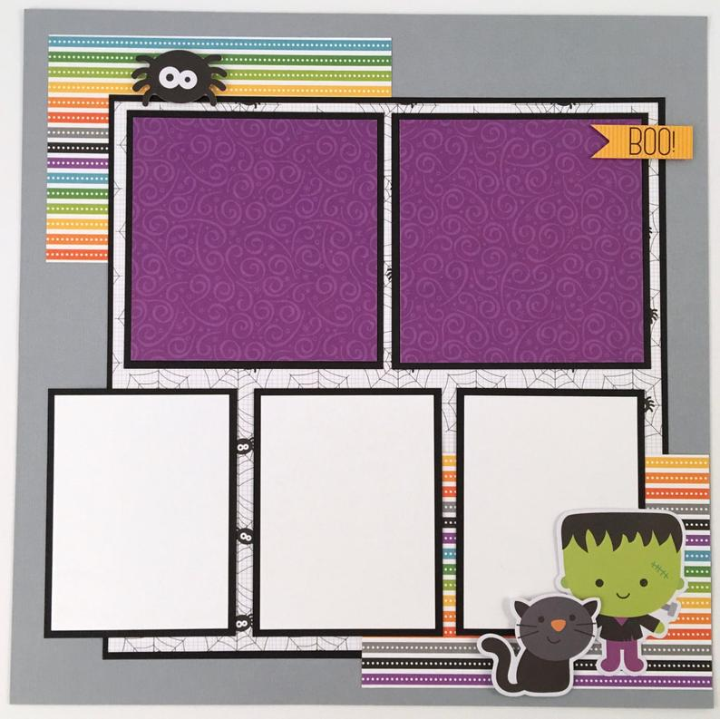 12x12 Halloween Layout Instructions, Digital Download