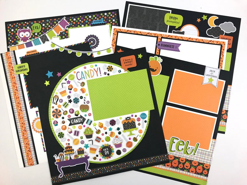 12x12 Halloween Pumpkin Party Layout Instructions, Digital Download