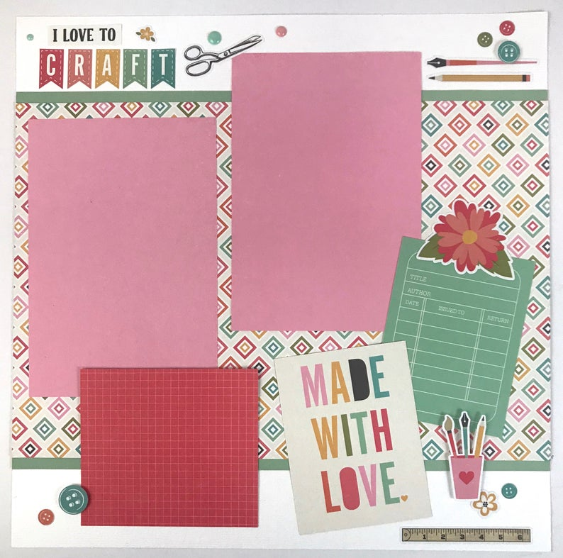 12x12 Made With Love, Crafting Layout Instructions, Digital Download
