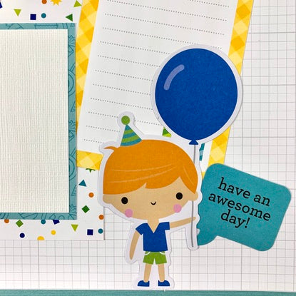 Birthday (blue) 6-page Scrapbook Layout Kit