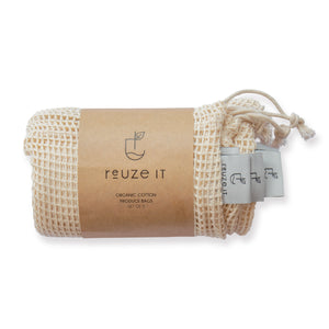 Organic Cotton Produce Bags | Produce Bags | Reuze It | Eco Store | Eco Friendly Products