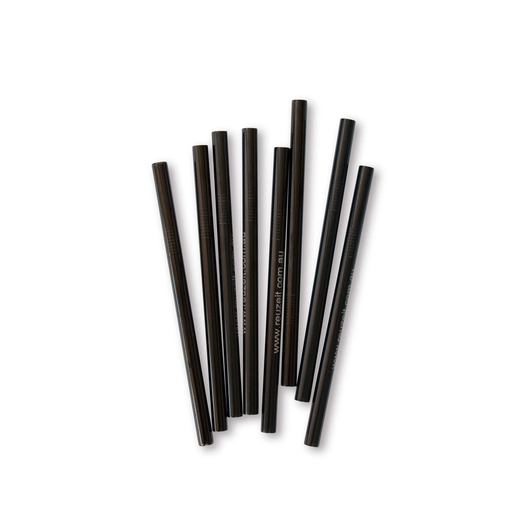 Stainless Steel Straws Black (Smoothie) | Straws | Reuze It | Eco Store | Eco Friendly Products
