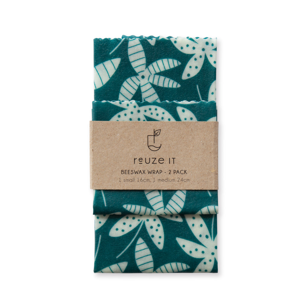 Beeswax Wrap - 2pk (Emerald Tropical Leaves) | Storage | Reuze It | Eco Store | Eco Friendly Products
