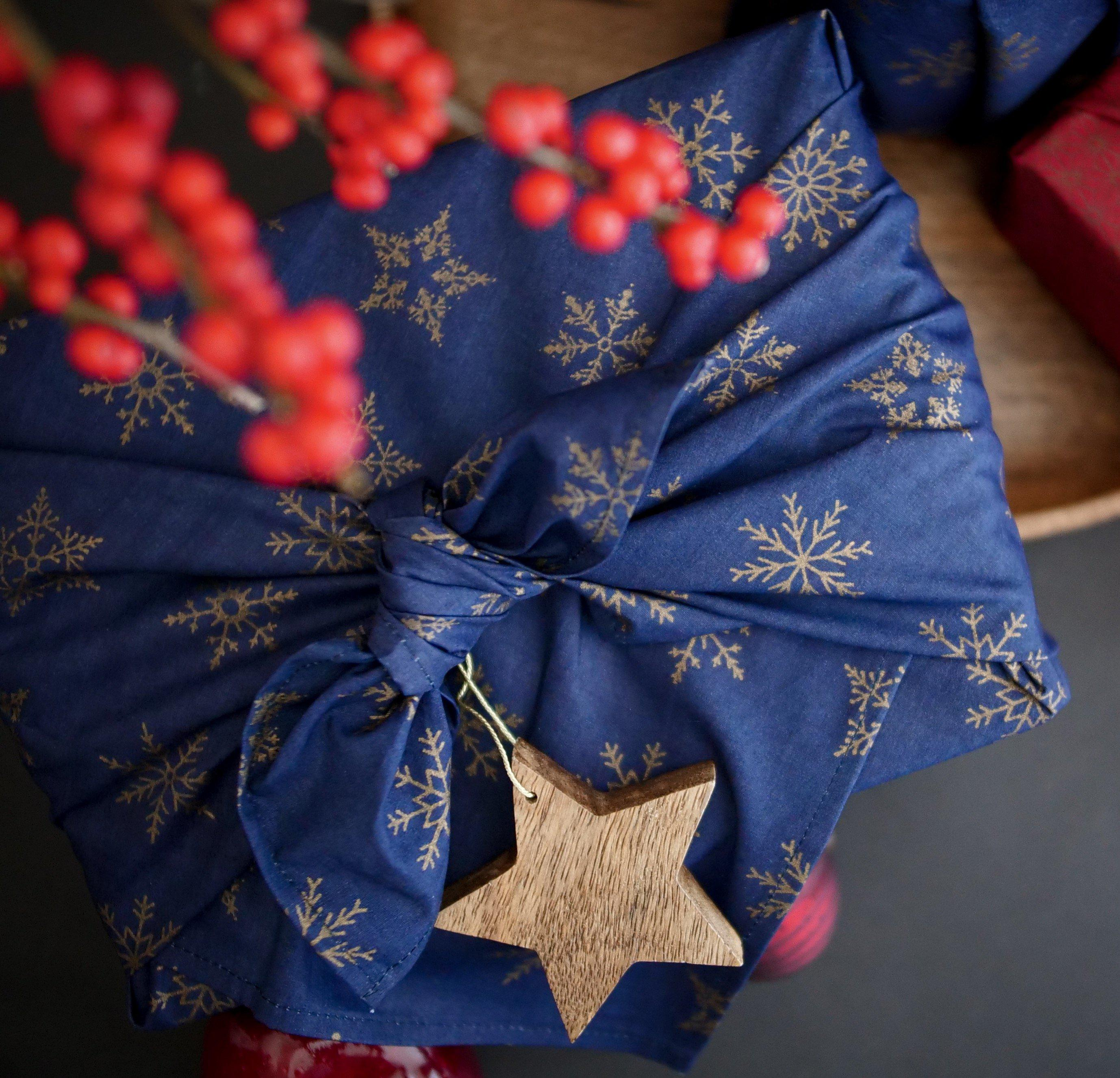 Fabric Wrapping Paper - Royal Blue Snowflakes