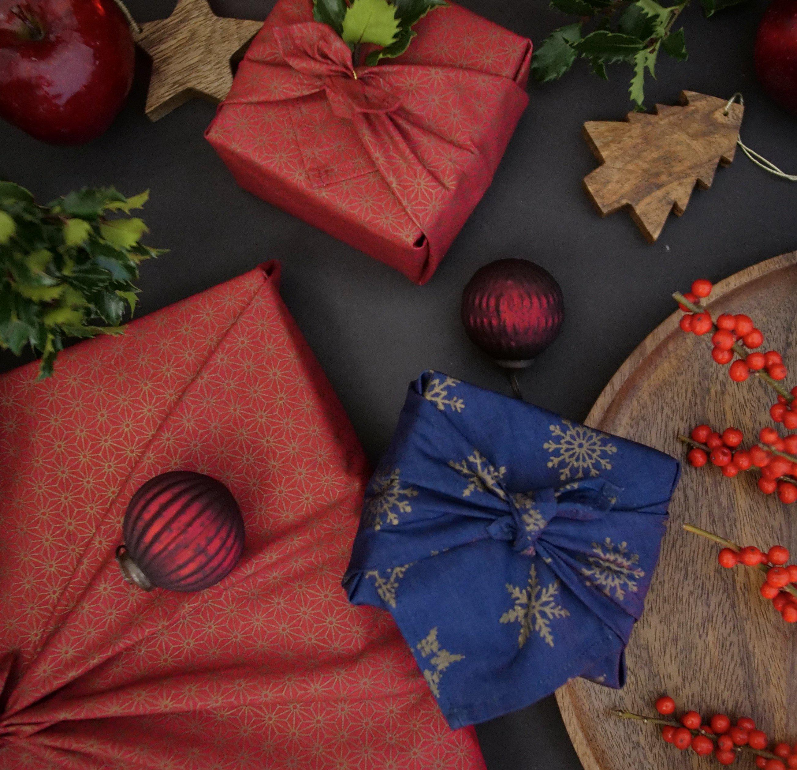 Fabric Wrapping Paper - Ruby & Royal Blue Double Sided