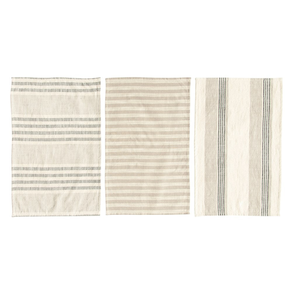 Woven Cotton Striped Tea Towels, Taupe, Black & Cream Color, Set of 3
