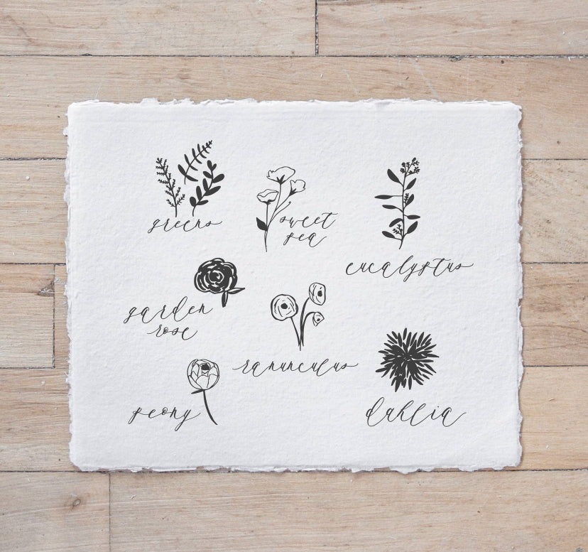 Flower Types Calligraphy Print