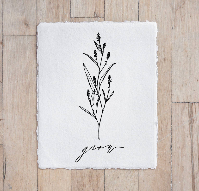 Grow Wildflower Calligraphy Print