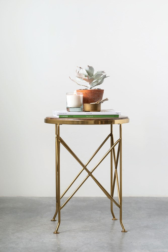 Metal & Mango Wood Table, Brass Finish