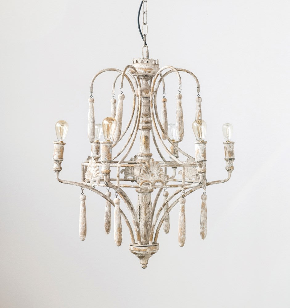 Metal Vintage Reproduction Chandelier w/ 6 Lights, 6' Chain & 10' Cord, White (60 Watt Max)