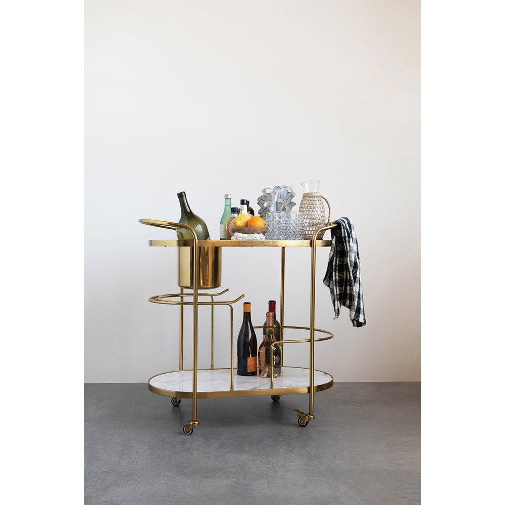 Metal 2-Tier Bar Cart on Casters w/ Built-In Ice Bucket w/ Marble/Mango Wood Shelves
