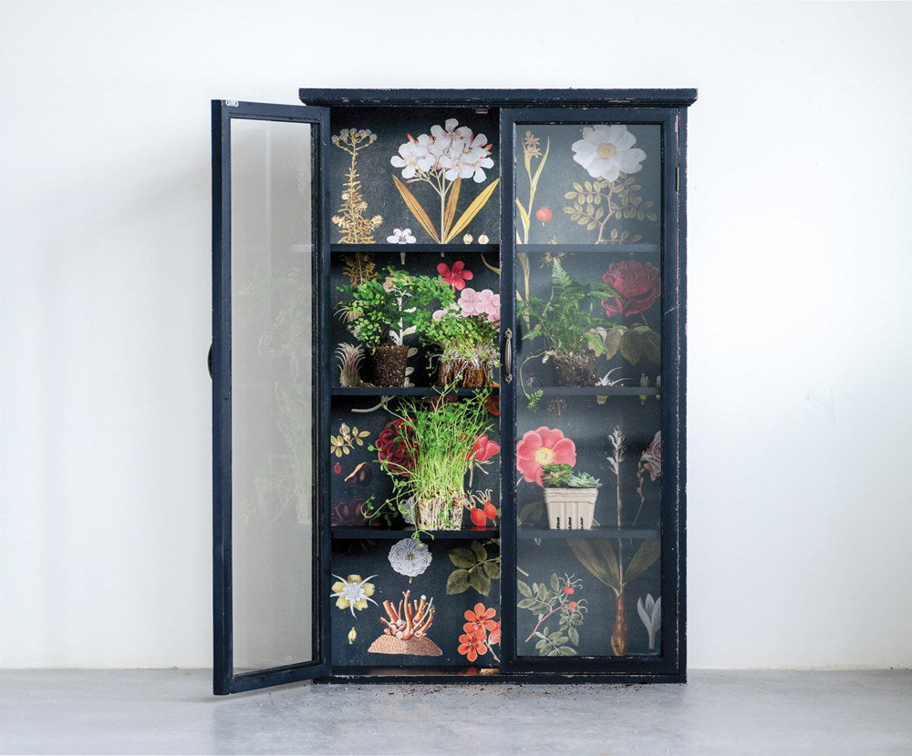 Wood Cabinet w/ Floral Papered Back, Black