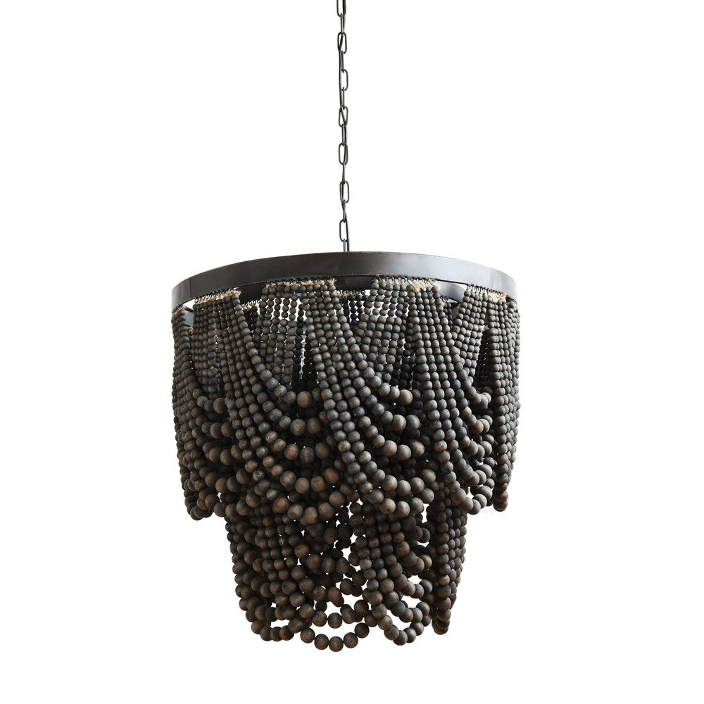 Metal & Wood Beads Chandelier, Black