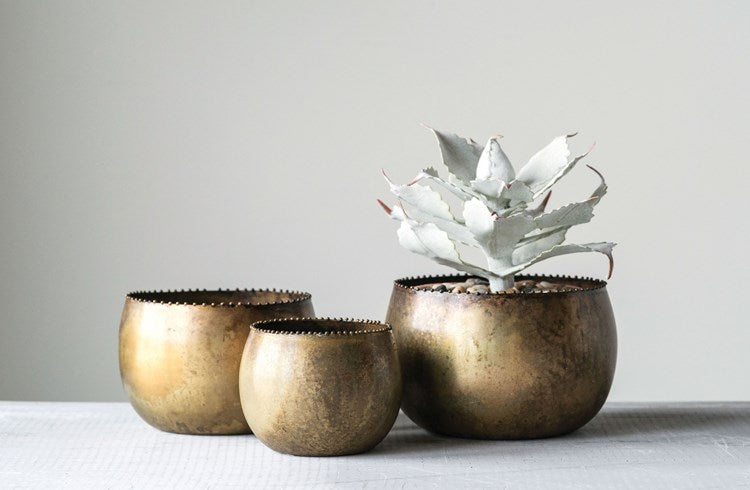 antique brass planters boho farmhouse