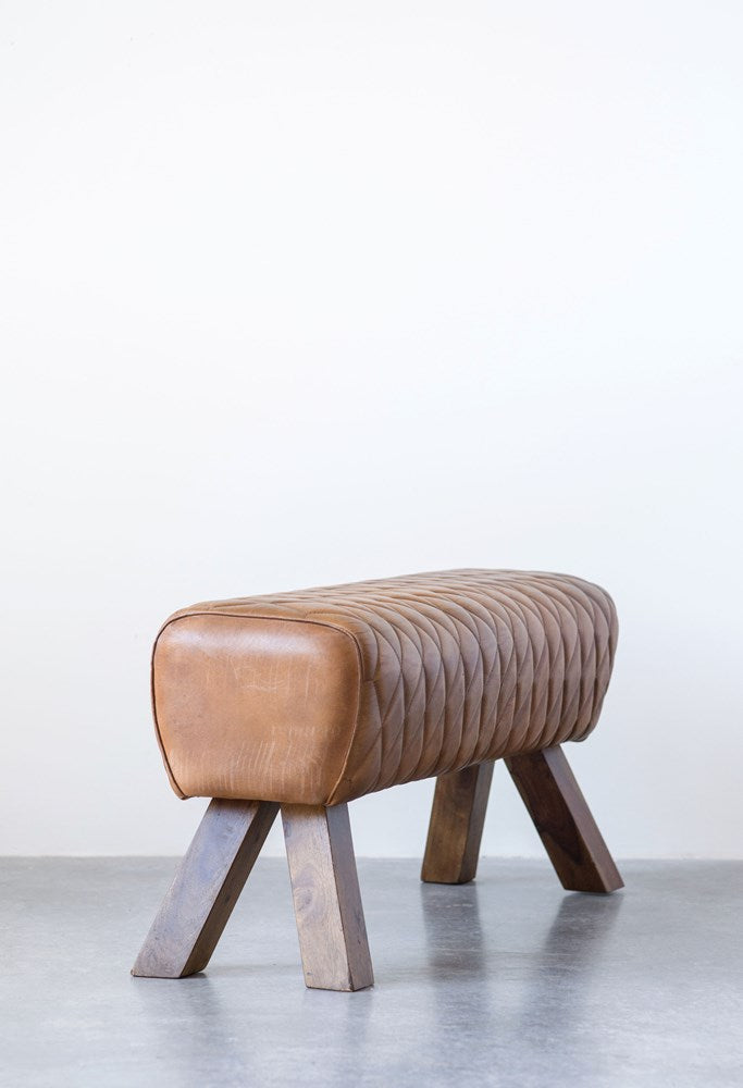 Stitched Leather & Wood Bench