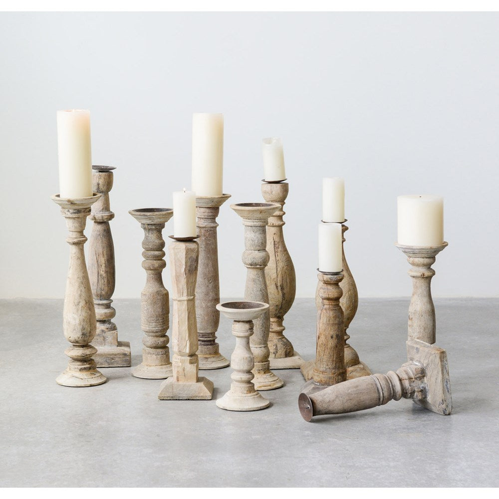 natural wood distressed white candle stick holders different style different designs .