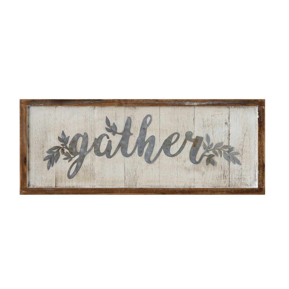 "Wood Framed Metal Wall Decor w/ Metal Word & Leaves ""Gather"""