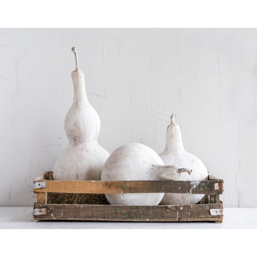 Resin Gourd, Distressed White Finish