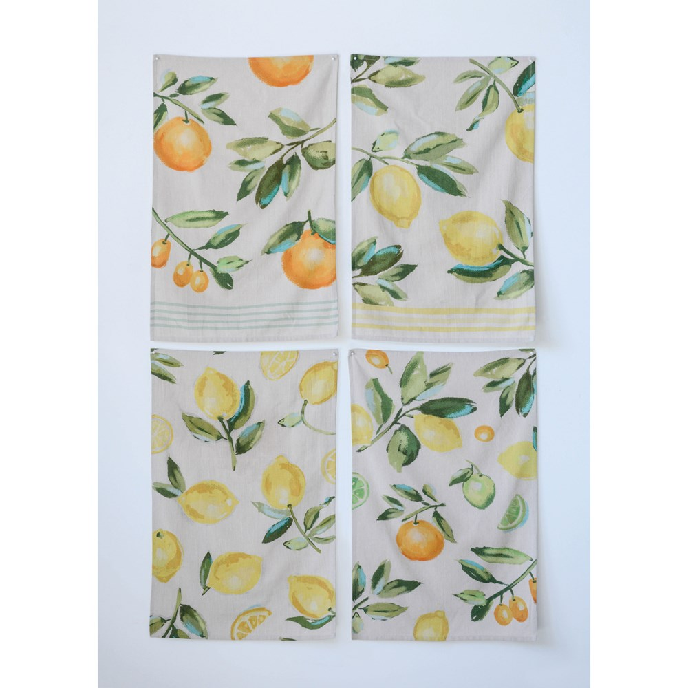 citrus lemon and orange spring season tea towels