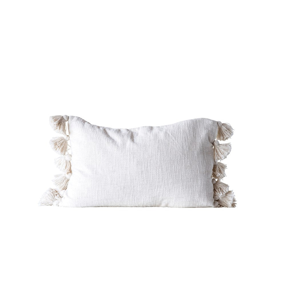 Cotton Woven Slub Pillow w/ Tassels, Cream