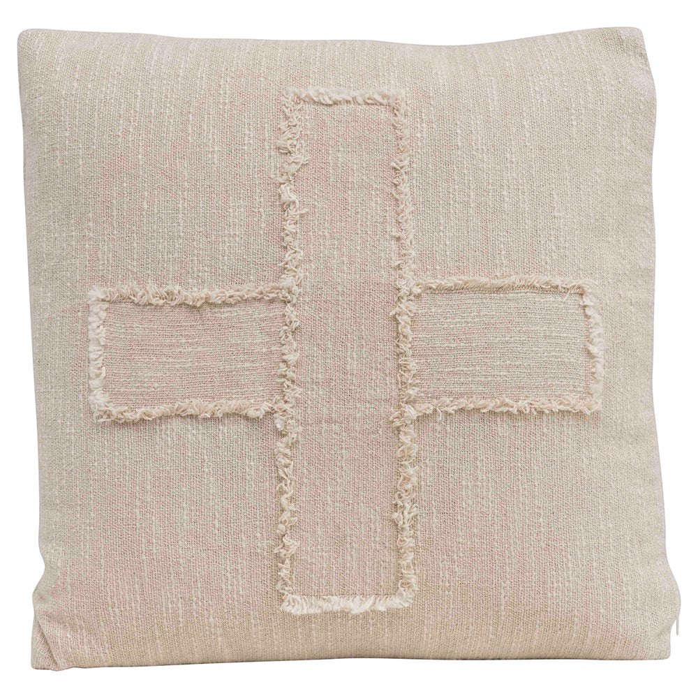 Woven Cotton Slub Pillow w/ Embroidered Swiss Cross, Natural