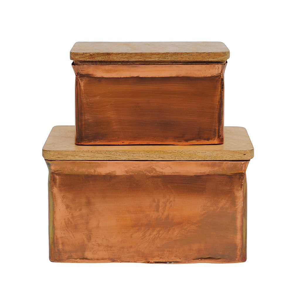 Metal Boxes w/ Wood Lid, Copper Finish, Set of 2
