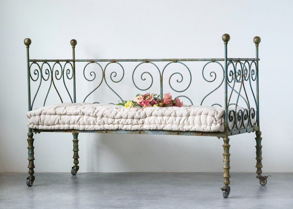 Metal Day Bed w/ Cushion on Casters
