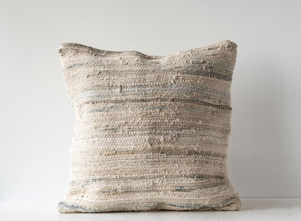 Recycled Cotton & Canvas Chindi Pillow, Multi Color