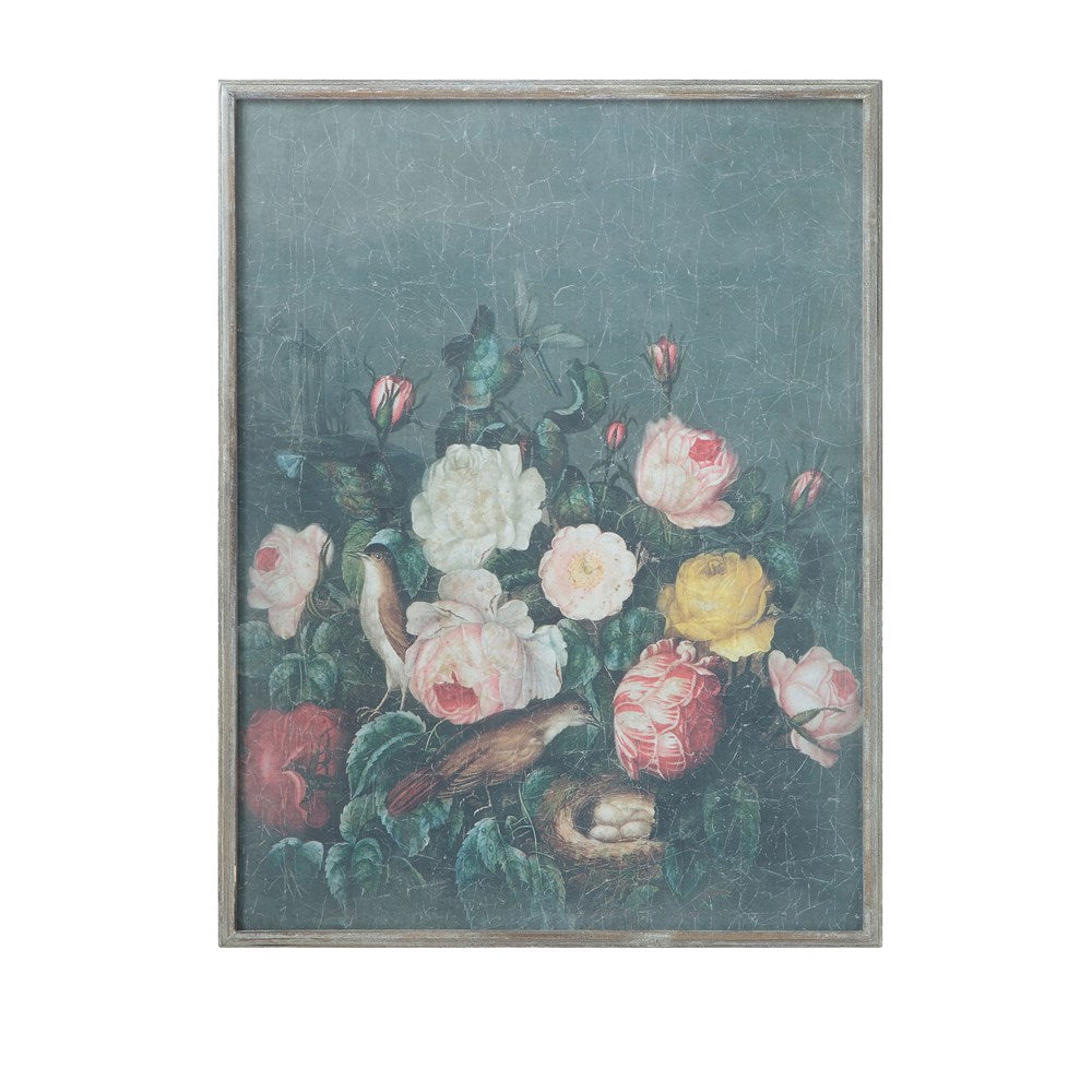 Wood Framed Wall Decor w/ Vintage Reproduction of Floral