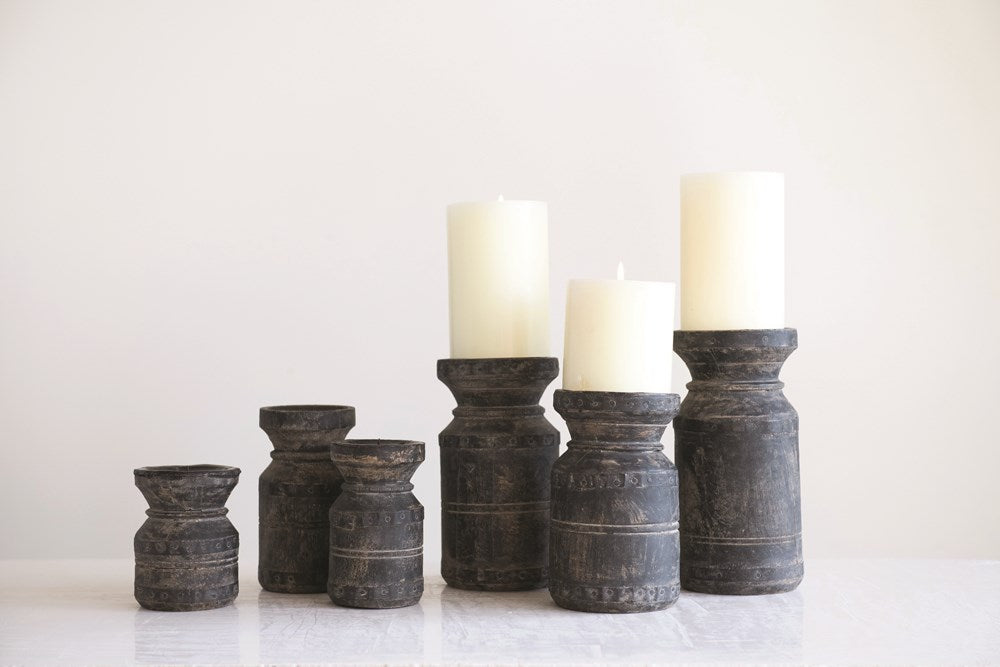 "Found Wood Pillar Candle Holders, Black, Set of 6 (Holds 3"" Pillar)"