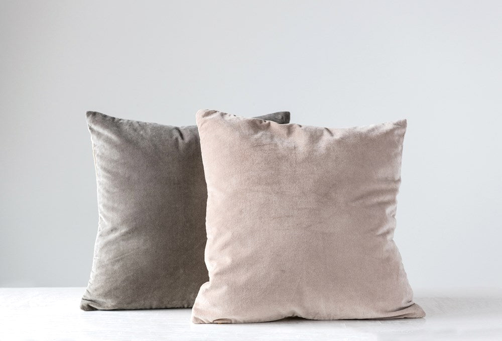 Cotton Velvet Front Pillow, Taupe