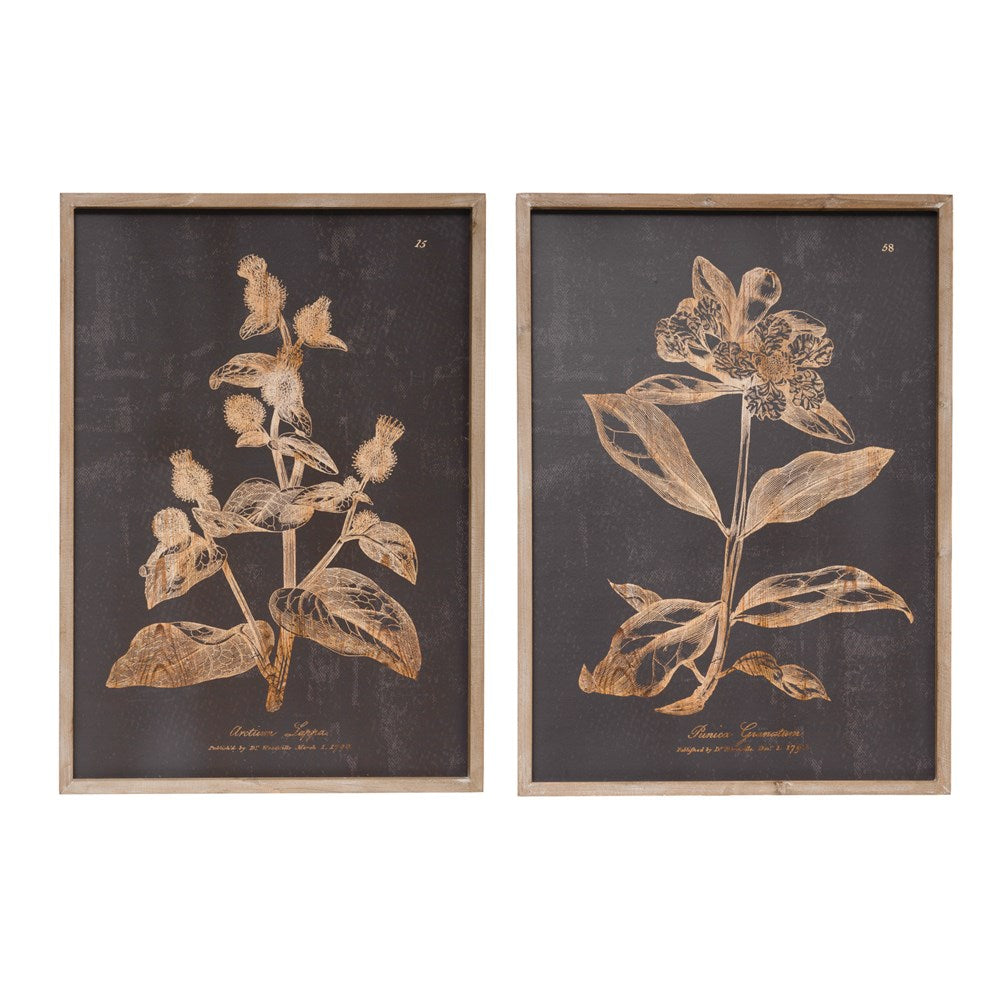Botanical Print Wood Wall Decor, Charcoal Color, 2 Styles