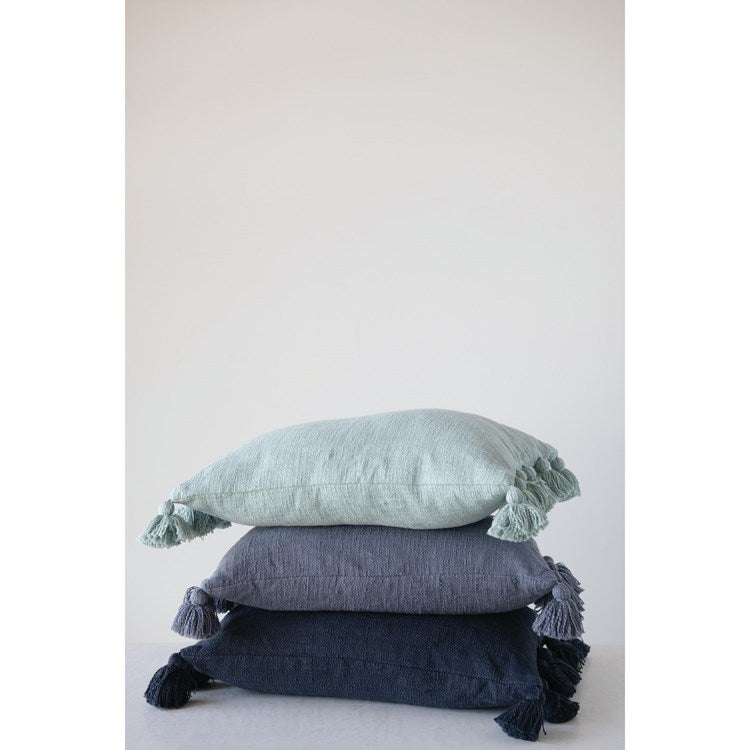 Cotton Slub Lumbar Pillow with Tassels, Midnight Blue