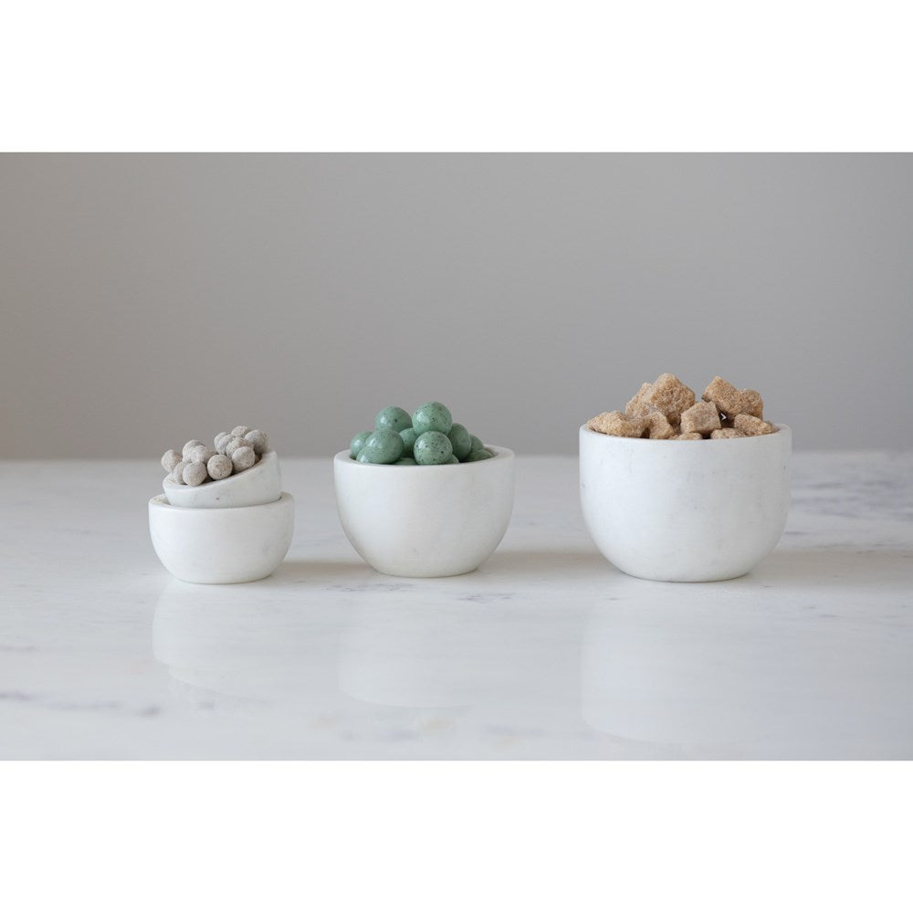 Measuring Cup Marble Bowls, White, Set of 4