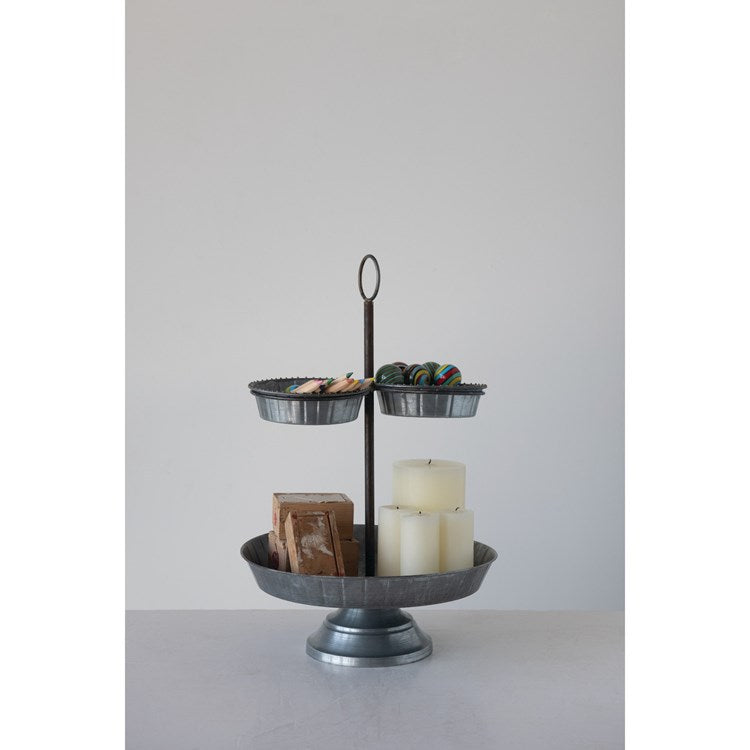 Decorative Galvanized 2-Tier Tray with 3 Sections