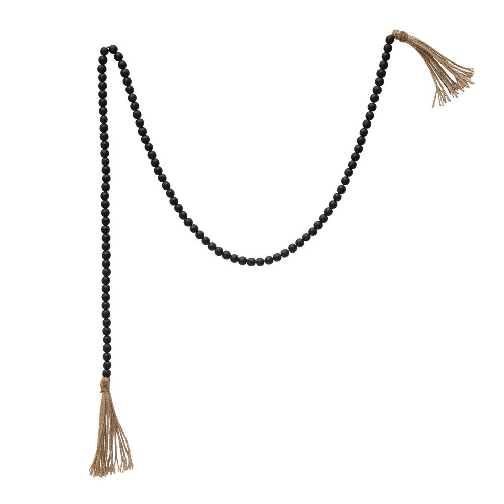 Paulownia Wood Bead Garland w/ Jute Tassels, Distressed Black