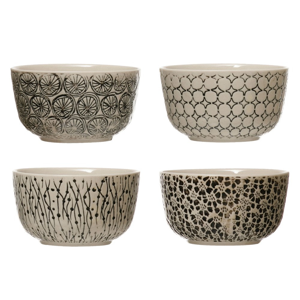 Hand-Stamped Stoneware Bowl w/ Embossed Pattern, Black & Cream Color, 4 Styles