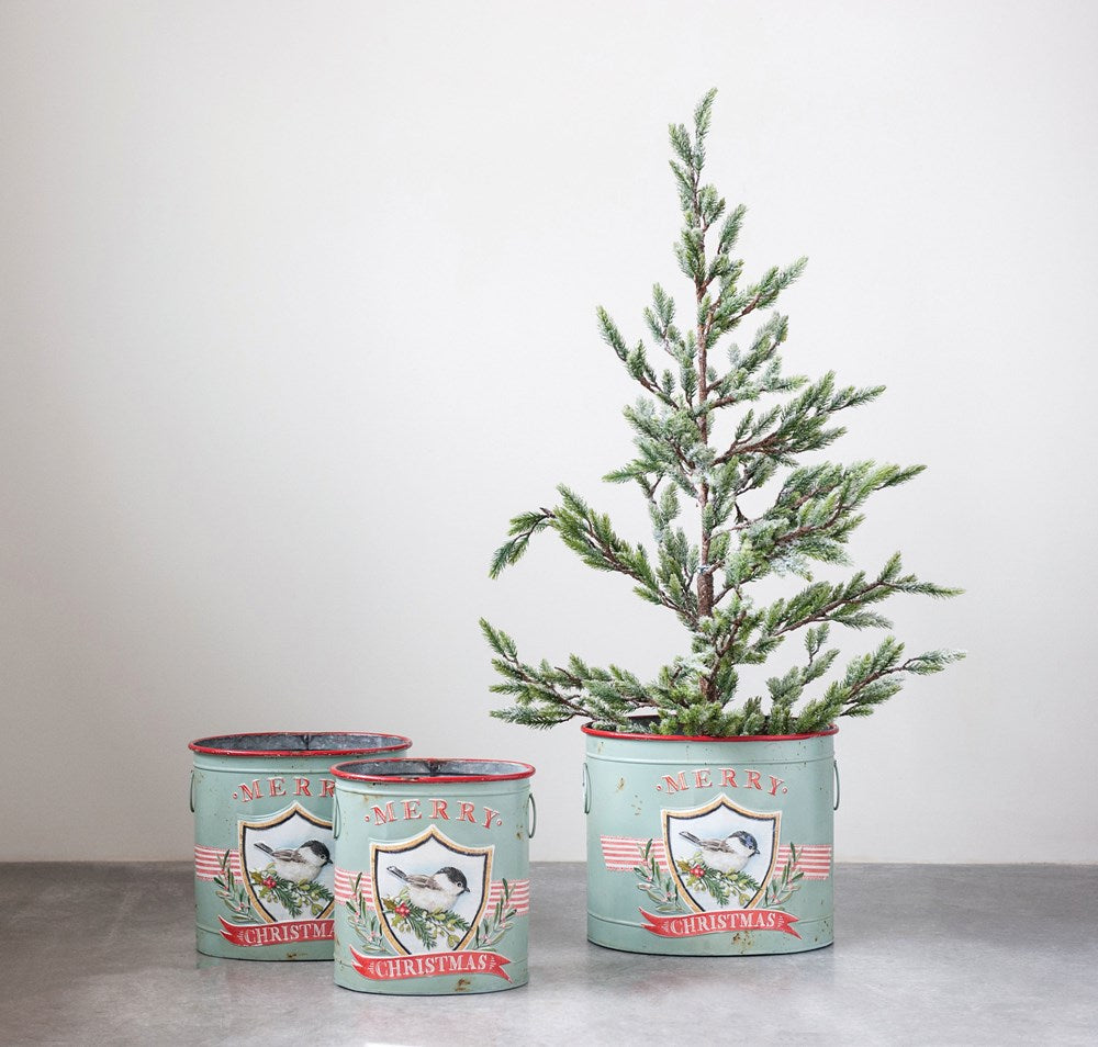 blue green red merry Christmas tin buckets embossed with bird decorations. small medium and large with handles for easy toting