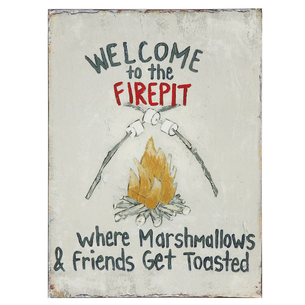 "Tin Wall Decor ""Welcome To The Firepit..."""