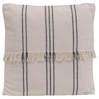 Square Woven Cotton Striped Pillow w/ Fringe, Natural & Navy